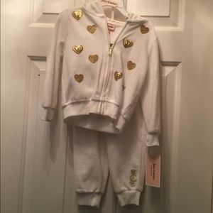 Brand New White and gold Juicy Couture velour set.